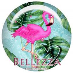 Cabochons Rond 25mm Flamant rose, flamingo, exotique, tropical