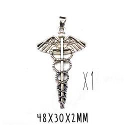 Pendentif symbole caducée médecine, docteur, médical, argent antique