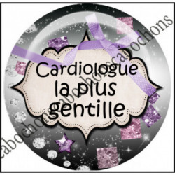 25mm RESINE, 1 Cabochons résine  Ref 11292Cardiologue,La plus gentille,médical,Space ,fiesta ,by bellezza,Etoiles, humour,Textes,écritures,expression,citation,humour,offrir,cadeau,création bijoux cabochons