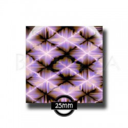 25mm verre,1 Cabochon carre 25mm, Purple design, psychedelique, geometrique, orange et violet