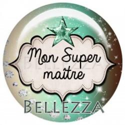 25mm RESINE,1 Cabochon resine 25mm, Menthe, marron, Mon super Maitre
