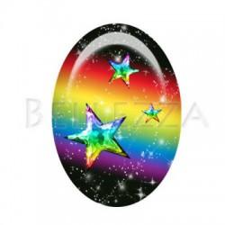 18x25mm VERRE ,1 Cabochon verre 18x25mm  Arc en ciel, espace, multicolore