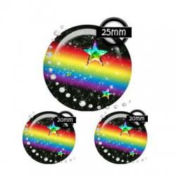 Parure verre 25mm, 20mm , Arc en ciel, espace, multicolore