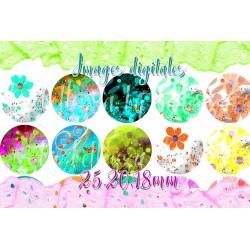 Images digitales 25,20,18mm,Fleurs, multicolore, A192 images pour cabochons