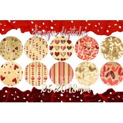 Images digitales 25, 20, 18 mm Coeurs, saint Valentin, A35 images pour cabochons