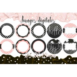 Images digitales 25, 20, 18 mm Illustrations, ornements, Votre texte A01 images pour cabochons