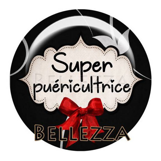 25mm RESINE ,1 Cabochon resine 25mm, Super puericultrice