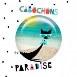 20mm VERRE, 2 Cabochons  verre 20mm  Ref 12152 Chat,silhouette,plage,mer,vacances,été,marin,exotique,tropical,Jaune,été,vacances,étoiles,cadeau, porte clés ,cadeau, porte clés  1€,cabochon verre