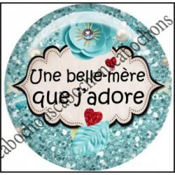 Cabochons  résine 25mm  Ref 11078Belle mère....Bleu,ciel,textes,message Fashion,bellezza ,cabochon en résine ,bijou cabochon,25mm