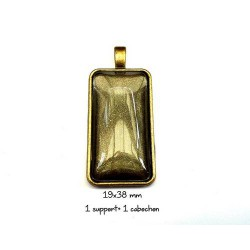 Support pendentif rectangle pour cabochon, 19x38mm métal bronze antique