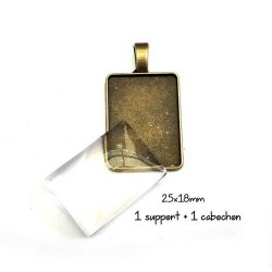 Support pendentif rectangle pour cabochon, 18x25mm métal bronze antique