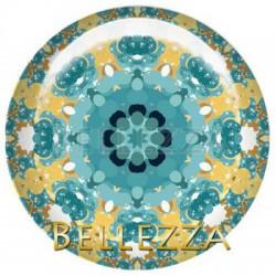 25mm RESINE, 1 Cabochon resine 25mm, Design fashion, tourbillon, mandalas, bleu turquoise et dore, gold, moutarde