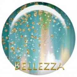 25mm verre, 1 Cabochon verre 25mm, Design fashion, tourbillon, mandalas, bleu turquoise et dore, gold, moutarde