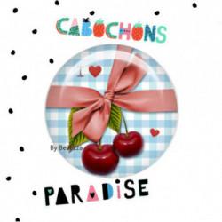 20mm VERRE, 2 Cabochons  verre 20mm  Ref10847Cerises,vichy,bleu,rétro,fashion,vintage,retro,1€,,collection cabochons paradise,bijou