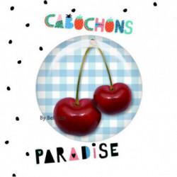 20mm VERRE, 2 Cabochons  verre 20mm  Ref10845Cerises,vichy,bleu,rétro,fashion,vintage,retro,1€,,collection cabochons paradise,bijou