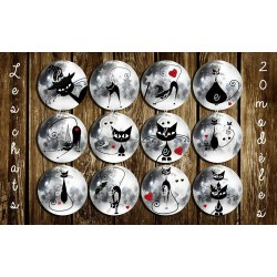 Images digitales 25, 20, 18 mm Chats halloween A198 images pour cabochons