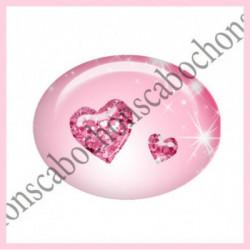 18x25mm VERRE, 1 Cabochons verre 18X25MM OVALE Ref 10808 Love,amour,coeur,que j'aime...Fairy,ROSE,enchanté,offrir,cadeau,création bijoux cabochons