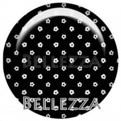 25mm RESINE, 1 Cabochon resine 25mm, geometrie,noir et blanc