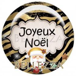 Cabochon verre 25mm, x 1 , noel, bonne annee, festif, gold, or et noir