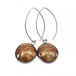 Boucles d oreilles cabochon, verre 20mm, argente, bijoux fantaisie