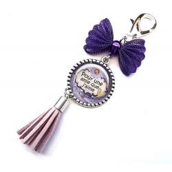 Bijoux de sac, porte clés, pompon, bijoux cabochon, une amie pour la vie