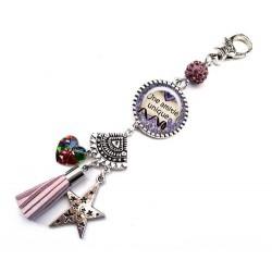 Bijoux de sac, porte clés, pompon, bijoux cabochon, amie, amitié