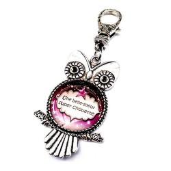 Bijoux de sac, porte clés, pompon, bijoux cabochon, une belle maman super chouette