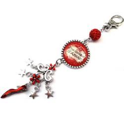 Bijoux de sac, porte clés, pompon, bijoux cabochon
