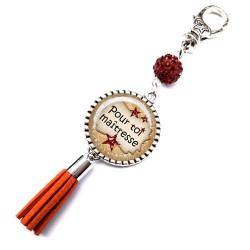 Bijoux de sac, porte clés, pompon, bijoux cabochon, merci maîtresse