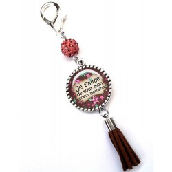 Bijoux de sac, porte clés, pompon, bijoux cabochon, pour une super mamie