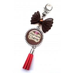 Bijoux de sac, porte clés, pompon, bijoux cabochon, je t'aime de tout mon coeur marraine