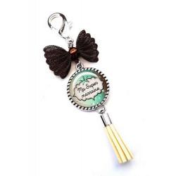 Bijoux de sac, porte clés, pompon, bijoux cabochon, marraine chérie