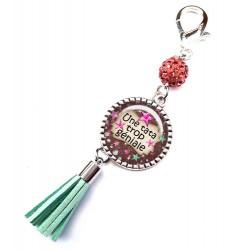 Bijoux de sac, porte clés, pompon, bijoux cabochon, pour une tata géniale