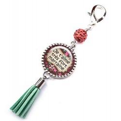 Bijoux de sac, porte clés, pompon, bijoux cabochon, ma douce et adorable marraine