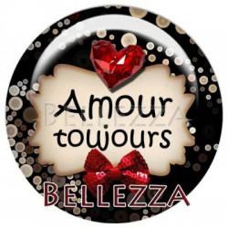 Cabochon resine 18mm, x 2,  saint valentin, amour, love, rouge et noir