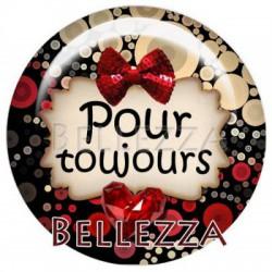 Cabochon verre 25mm, x 1, saint valentin, amour, love, rouge et noir