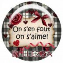 Cabochon verre 25mm, x 1, saint valentin, amour, love, gris et rouge