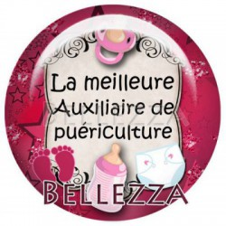 Cabochon verre 25mm, x 1, auxiliaire de puericulture, rose framboise