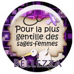 Cabochon resine 25mm, x 1, sage femme, bebe, naissance, violet et noir
