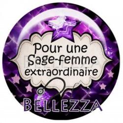 Cabochon verre 18mm, x 2, sage femme, bebe, naissance, violet et noir