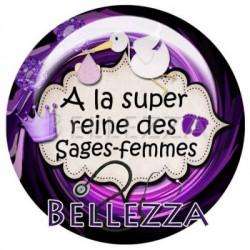 Cabochon verre 20mm, x 2, sage femme, bebe, naissance, violet et noir