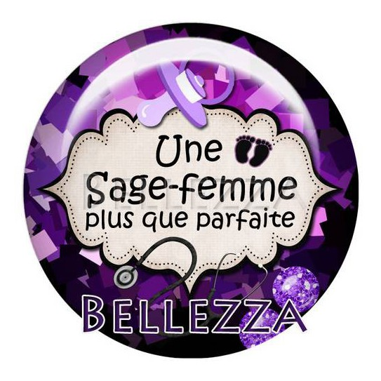 Cabochon verre 25mm, x 1, sage femme, bebe, naissance, violet et noir