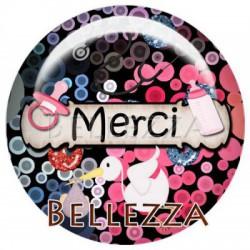 Cabochon verre 18mm, x 2, sage femme, bebe, naissance, bubble multicolore