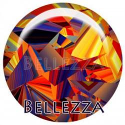 Cabochon verre 12mm, x 2, geometrique fashion, orange et bleu