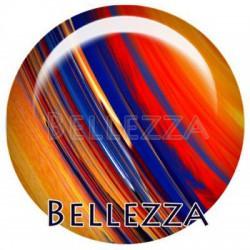 Cabochon verre 30mm, x 1, geometrique fashion, orange et bleu