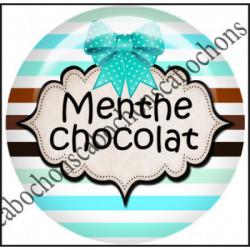 25mm RESINE,Cabochons  en résine 25mm  Ref 10424Chocolat,menthe,rayures,amour,love,gourmandise,j'aime..,cabochon en résine 25mm