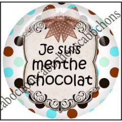 25mm RESINE,Cabochons  en résine 25mm  Ref 10430Chocolat,menthe,rayures,amour,love,gourmandise,j'aime..,cabochon en résine 25mm