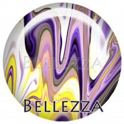 Cabochon resine 25mm, x 1, geometrique fashion, violet et jaune