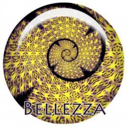Cabochon verre 25mm, x 1, geometrique fashion, violet et jaune