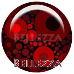 Cabochon verre 25mm, x 1, geometrique fashion, bordeaux et rouge